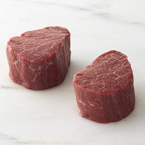 Meyer Natural Angus USDA Prime Beef Tenderloin Filet Mignon Steaks 6oz - 6 per case, no added hormones or antibiotics ever, humanely handled, frozen, bulk pack, all natural, certified tender