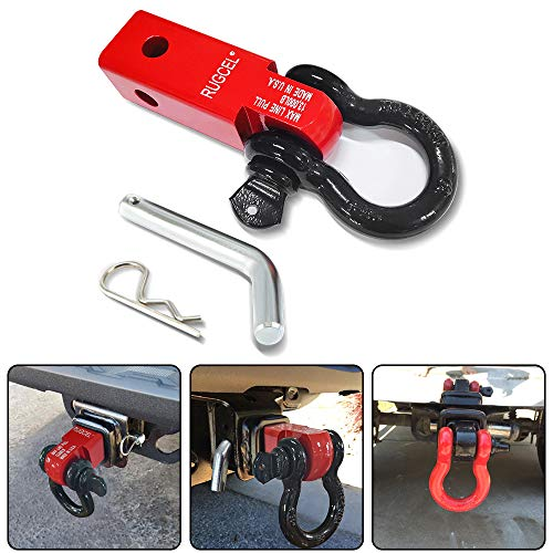 RUGCEL Shackle Hitch Receiver 2 inch 13000 Lbs Break Strength Never Rust Receiver Shackle Bracket Heavy Duty and Solid with 3/4'' D Ring Shackle, Towing Accessories for Trucks Jeeps