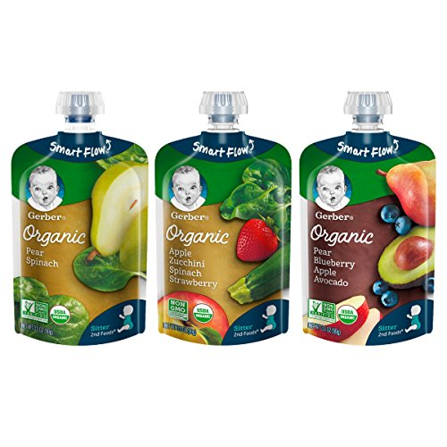 Gerber Purees Organic 2nd Foods Baby Food Fruit & Veggie Variety Pack, 3.5 Ounces Each, 18 Count