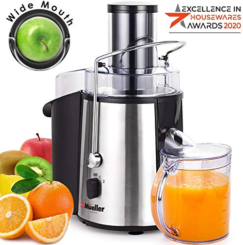 """Mueller Austria Juicer Ultra 1100W Power, Easy Clean Extractor Press Centrifugal Juicing Machine, Wide 3"""" Feed Chute for Whole Fruit Vegetable, Anti-drip, High Quality, BPA-Free, Large, Silver"""