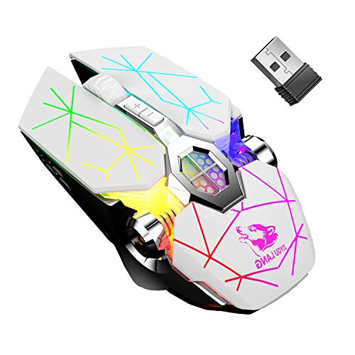 Wireless Gaming Mouse, with Nano USB 2.4G 7-Colors Backlit Rechargeable Computer Game Mice 6 Buttons 2400 DPI 3 Adjustment Levels for PC Laptop Windows 7/8/10/XP/Vista/MAC/Linux Plug & Play (White)