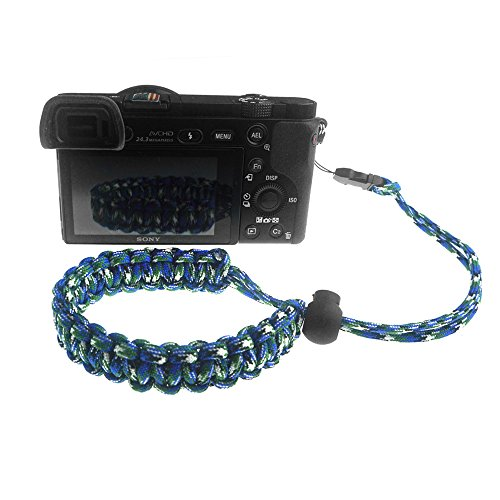 FoRapid Quick Release Braided 550 Paracord Adjustable Camera Wrist Strap Fits All Lugs-Fujifilm Instax Mini 90/70/8/25/WIDE 300 Mirrorless Compact System DSLR Camera Rangefinder Binocular-GRN/Blue/WT