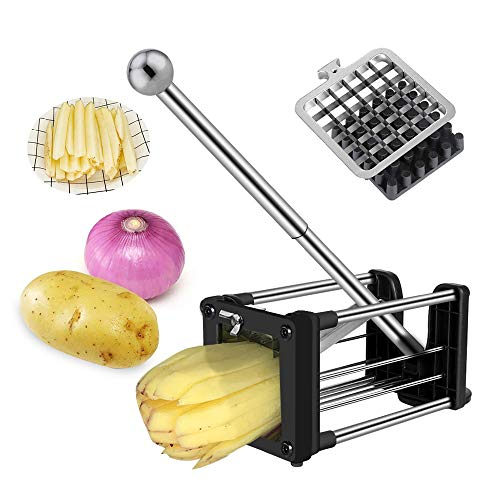 French Fry Cutter, Wosweet Stainless Steel Homemade Potato Chipper Cutter for Easy Slicer with 2 Blades, Great for Potatoes, Carrots, Cucumbers