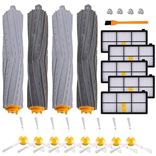 KEEPOW 800 900 Series Replacement Parts Kit Compatible with iRobot Roomba 860 870 880 890 891 960 980 Vacuum Accessories, 2 Set Debris Extractor, 5 Hepa Filters, 8 Side Brushes