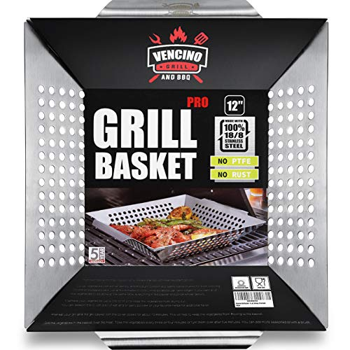 Grill Basket - Grill Baskets for Outdoor Grill, Heavy Duty Stainless Steel Vegetable Grill Basket, Grilling Basket for Veggie & Kabob, 5-Star Grilling Accessories for All Grills & Smokers