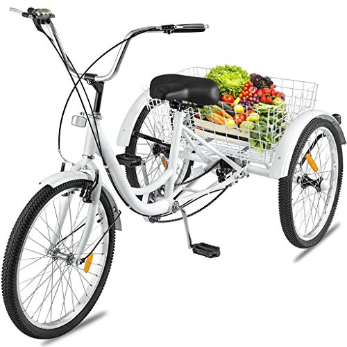 Adult Tricycles 7 Speed, Adult Trikes 24 inch 3 Wheel Bikes, Three-Wheeled Bicycles Cruise Trike with Shopping Basket for Seniors, Women, Men. Great Tricycle