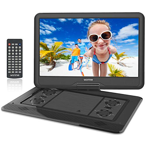 WONNIE 17.9 Large Portable DVD/CD Player with 15.6 Swivel Screen, 1366x768 HD LCD TFT, USB/SD Card Readers, Built-in 5600mAH Rechargeable Battery, Stereo Sound, Regions Free, AV IN & AV OUT