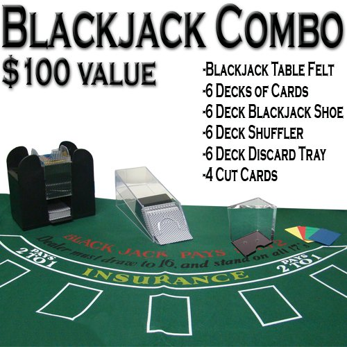 TMG Professional Casino Style Deluxe 6-Deck Blackjack Set - Includes Bonus 100 Poker Chips!