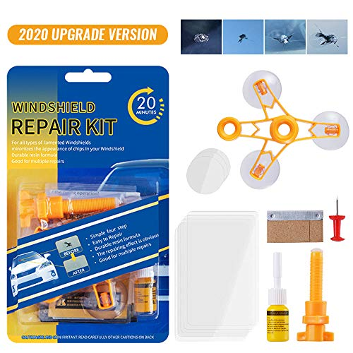 Upgraded Windshield Repair Kit – Premium Repair Resin Vehicle Windshield Crack Repair Tools for Fix Auto Glass Windshield Crack Chip Scratch Nicks Half-Moon Bulls-Eye Star-Shaped