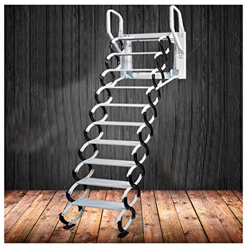 Heavy Duty Steel Metal Loft Wall Ladder Stairs Attic Household Pull Down Thick Folding Ladder Factory New Design (Carbon Steel 2.5-3M,Black White)