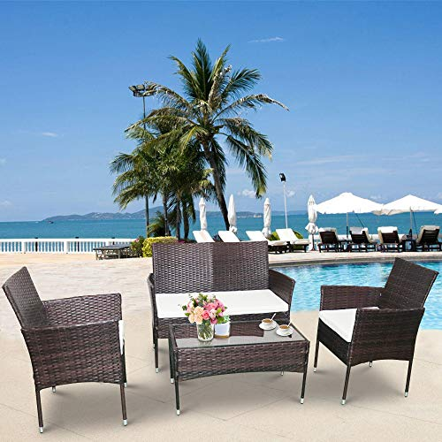 Hooseng Rattan Sofa Furniture Set Outdoor Garden Patio 4-Piece Cushioned Seat, Brown