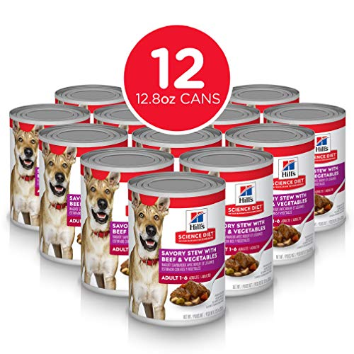 Hill's Science Diet Wet Dog Food, Adult, Savory Stew, Beef & Vegetables 12.8 oz Cans, 12 Pack
