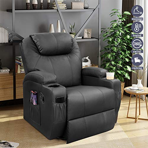 Furniwell Recliner Chair Massage Leather Living Room Chair Home Theater Seating Heated Overstuffed Single Sofa 360° Swivel and Rocking (Black)