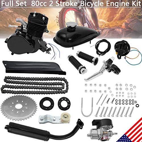 80CC Bicycle Engine Kit, Motorized Bike 2-Stroke, Petrol Gas Engine Kit, Super Fuel-efficient for 26' and 28' Bikes (Black)