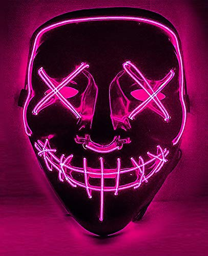 Cosweet Halloween Lighting Mask Scary Cosplay LED Costume Mask for Halloween Festival Parties-Purple