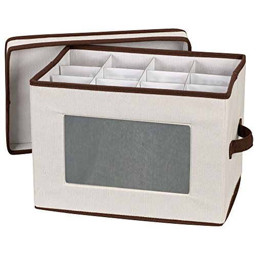 Household Essentials Natural 544 Stemware Storage Box with Lid and Handles   Champagne Glasses Canvas with Brown Trim