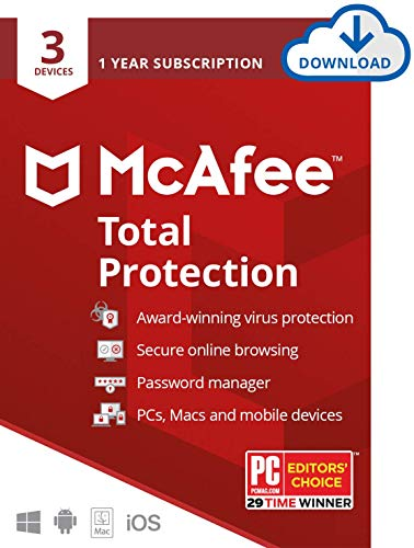 McAfee Total Protection 2020, 3 Device Antivirus Internet Security Software, Password Manager, Privacy, 1 Year - Download Code