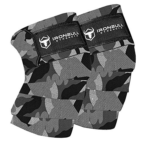 Knee Wraps (1 Pair) - 80' Elastic Knee and Elbow Support & Compression - For Weightlifting, Powerlifting, Fitness, WODs & Gym Workout - Knee Straps for Squats (Camo/White)