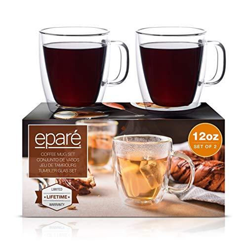 Eparé Coffee Mugs - Clear Glass Double Wall Cup Set - Insulated Glassware - Best Large Coffee Espresso Latte Tea Glasses