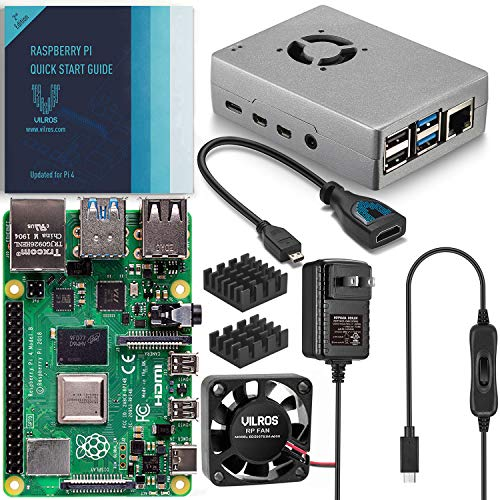 Vilros Raspberry Pi 4 Basic Starter Kit with Fan Cooled Heavy Duty Aluminum Alloy Case (2GB Ram, Silver)