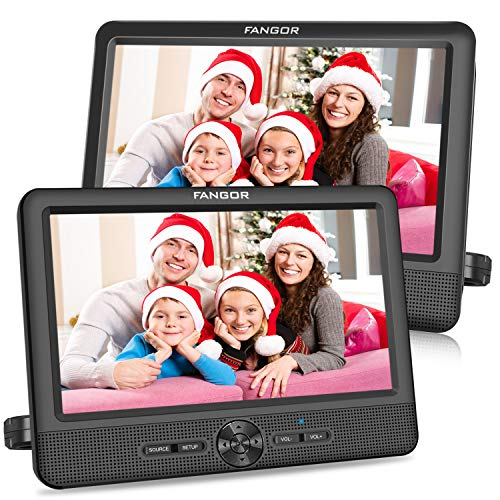FANGOR 10 Dual Car DVD Player Portable Headrest CD Players with 2 Mounting Brackets, 5 Hours Rechargeable Battery, Last Memory, Free Regions, USB/SD Card Reader, AV Out&in ( 1 Player + 1 Screen )