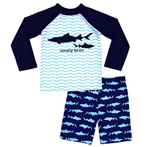 Boys Two Piece Rash Guard Swimsuits Kids Long Sleeve Sunsuit Swimwear Sets 7T