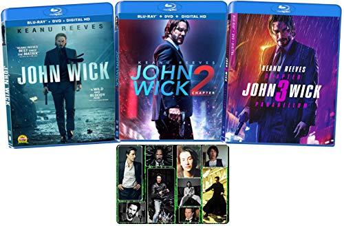 John Wick: Chapters 1 2 3 Complete Blu-ray Keanu Reeves Movie Series with Bonus Glossy Art Print