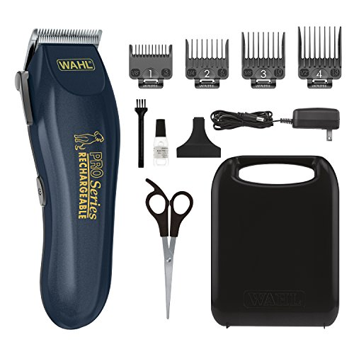 WAHL Lithium Ion Deluxe Pro Series Rechargeable Pet Clipper Grooming Kit with Low Noise & Heavy Duty Motor for Cordless Electric Trimming & Shaving Dogs – Model 9591-2100