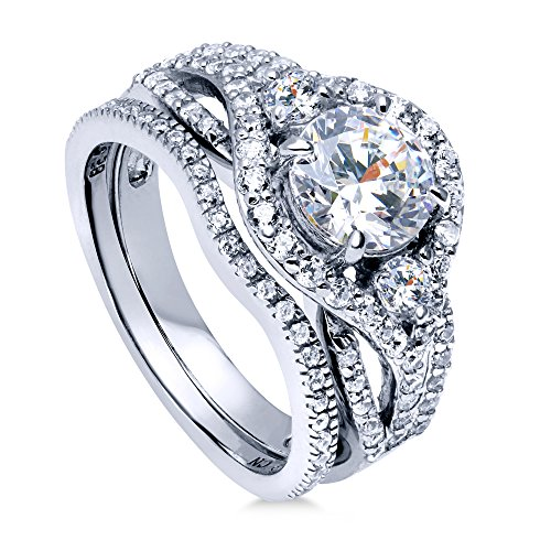 BERRICLE Rhodium Plated Sterling Silver Round Cubic Zirconia CZ 3-Stone Anniversary Engagement Wedding Ring Set 2.22 CTW Size 9.5