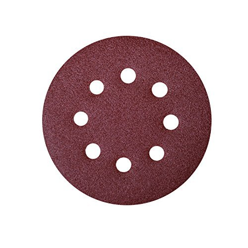 POWERTEC 45008 A/O Hook and Loop 8 Hole Disc, 5-Inch, 80 Grit, 25 PK