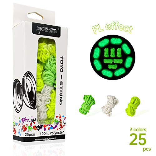 CHEE MONG Magic YOYO Professional Yoyo Strings, Polyester Yoyo Strings Glow in The Dark, String Replacement for Responsive or Non Responsvie YoYo - White, Green, Yellow (Pack of 25)