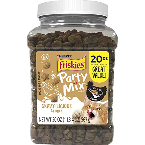 Purina Friskies Made in USA Facilities Cat Treats, Party Mix Crunch Gravylicious Chicken & Gravy Flavors - 20 oz. Canister