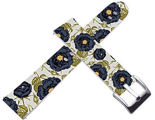 18mm Watch Bands Straps Leather Quick Release Compatible with Withings Activité/Activitie Pop/Steel/steel HR for LG Watch Style for Asus ZenWatch 2 for Huawei Watch Elegant Flower Floral Pattern Print