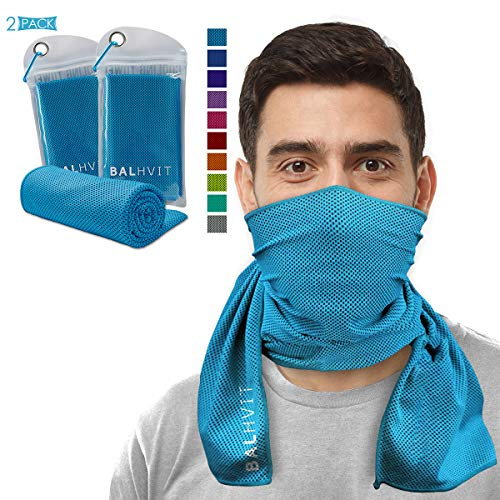 Balhvit 2 Pack(40'12') Instant Relief Cooling Towel for Neck, Ice Towel, Microfiber Towel, Chilly Headband Bandana Scarf, Cool Cold Towels for Men/Women, Yoga, Sport, Running, Gym, Workout, Hiking