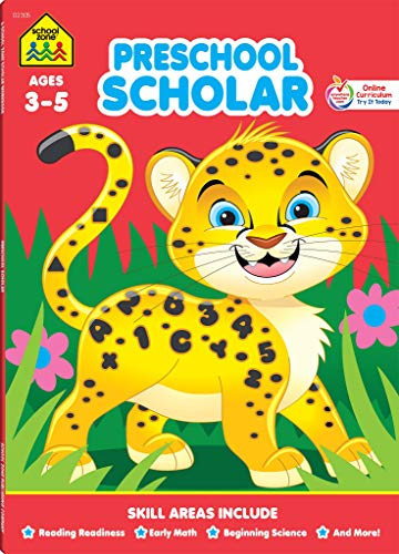 School Zone - Preschool Scholar Workbook - 64 Pages, Ages 3 to 5, Preschool to Kindergarten, Reading Readiness, Early Math, Science, ABCs, Writing, and More (Deluxe Edition 64-Page)