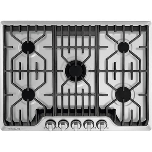 Frigidaire Professional 30-Inch Gas Cooktop | Stainless Steel, 5 Burners, Liquid Propane Convertible | FPGC3077RS