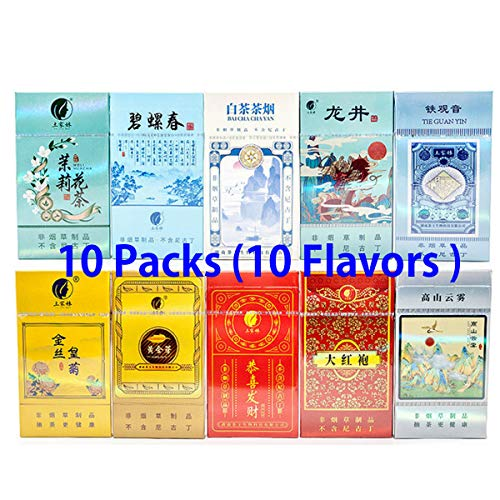 Healthy Chinese Herbal Tea Cigarettes, Tobacco & Nicotine Free Green Tea Black Tea Jasmine Tea Cigarettes, Smokeless,Non Tobacco,Tobacco Substitutes (10 Pack,10 Flavors)