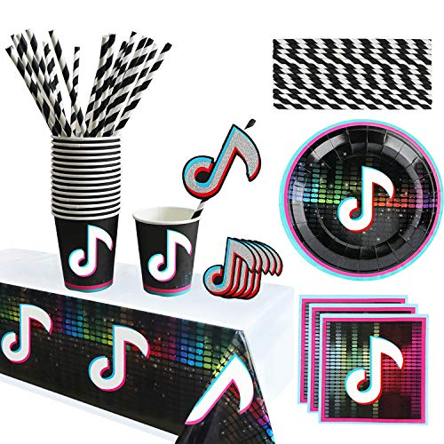 Party Supplies Decorations Set for 16 Guests,Hot Short Vedio Party Plates Napkins Cups Plastic Tablecloth Straws&Decoration Toppers,for Short Vedio Music Theme Birthday Party Decorations,Disposable Paper Party Tableware Set for Kids Children or Adults.