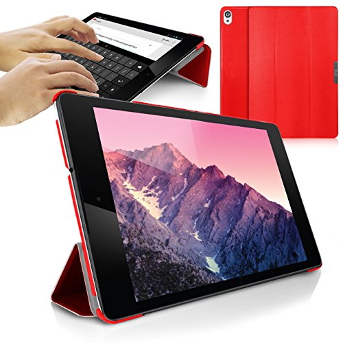 Orzly Nexus 9 Case, SlimRim Tablet Case for Nexus 9 with AUTO Wake Sleep SENSORS - Ultra Slim Rim Style Tablet Case in RED with Built-in Stand and Magnetic Lid for Secure Fastening