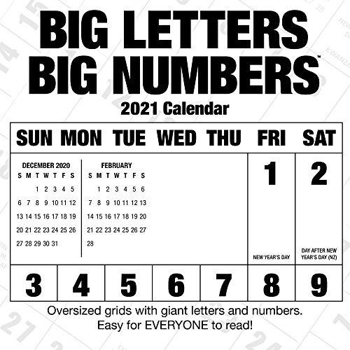 Big Letters Big Numbers 2021 Wall Calendar