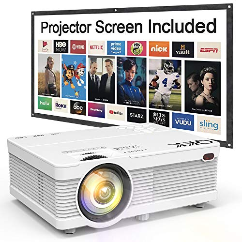 QKK Mini Projector 4500Lumens Portable LCD Projector [100' Projector Screen Included] Full HD 1080P Supported, Compatible with Smartphone, TV Stick, Games, HDMI, AV, Outdoor Projector for Home Theater