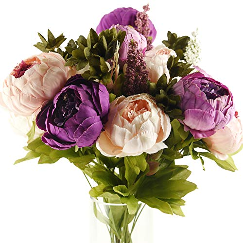 FiveSeasonStuff Vintage Artificial Peonies Silk Peony Flowers and Hydrangeas for Wedding Bridal Home Dcor  Beautiful Floral Centerpiece Arrangement 2 Bouquets (Mixed Pale Pink and Thistle Purple)