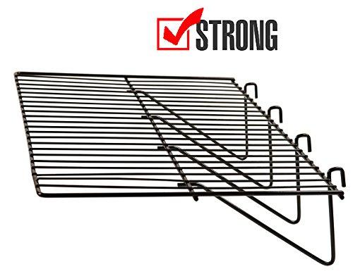 Gridwall Panel Display Shelf - Only Garment Racks - Clothing Display Rack Grid, Heavy Duty Shelves, 12'D x 24'L Straight Shelf for Grid Panel, Black Finish, Wire, (Box of 6)
