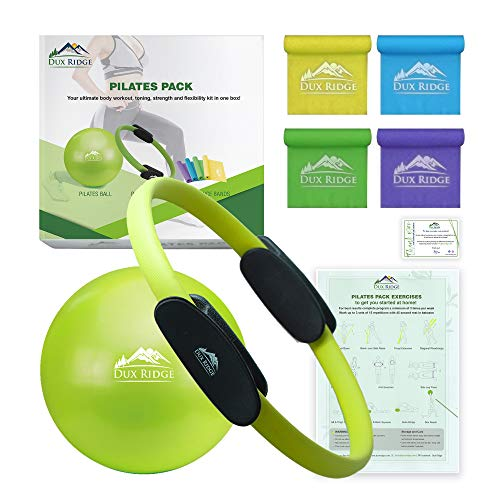 Dux Ridge Pilates Ring 12' Magic Circle, 9' Pilates Mini Ball, Set of 4 Resistance Bands. Total Body Workout in one Box! Pilates Yoga Barre Physical Therapy. Strength Training Without Weights.