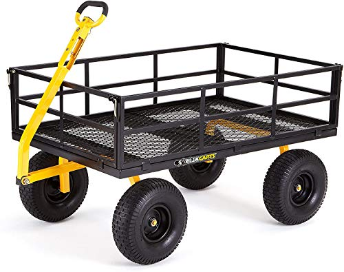 Gorilla Carts GOR1400-COM Heavy-Duty Steel Utility Cart with Removable Sides and 15' Tires, 1400-lbs. Capacity, Black