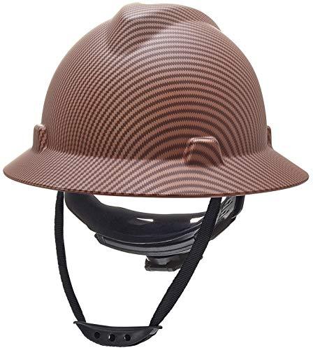 Safety Hard Hat Full Brim 6 Point Ratcheting System   Meets ANSI Z89.1   Personal Protective Equipment Carbon Fiber Design [Matte Copper]
