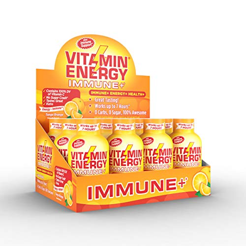 Vitamin Energy Shots  Energy Lasts up to 7+ Hours*, Supports Immune Health*, Great Tasting Tango Orange, Keto Friendly 0 Sugar / 0 Carbs (12 Pack)