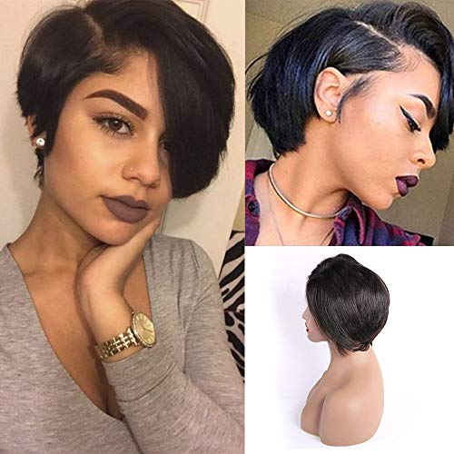 4X4 Lace Closure Wigs Human Hair Pixie Cut Wigs Short Bob Soft Straight Wigs for Black Woman Lace Front Wigs 150% Density Brazilian Virgin Human Hair. (8 inch, Natural Black)