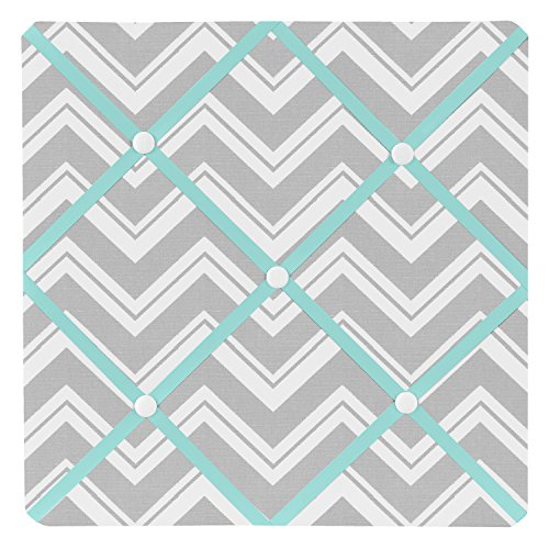 Turquoise and Gray Chevron Zig Zag Fabric Memory/Memo Photo Bulletin Board by Sweet Jojo Designs