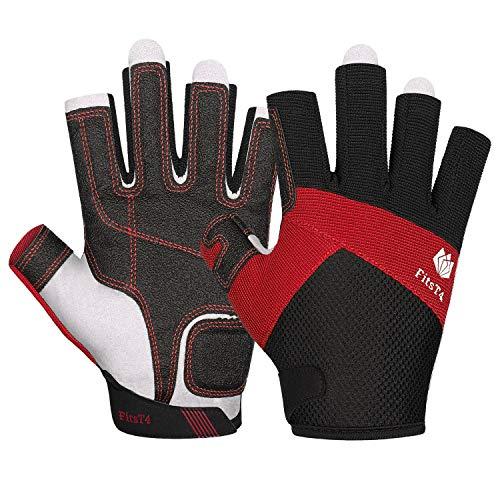 FitsT4 Sailing Gloves 3/4 Finger Padded Palm - Mesh Back for Comfort - Perfect for Sailing, Paddling, Canoeing, Kayaking, SUP for Men Women & Kids Red M